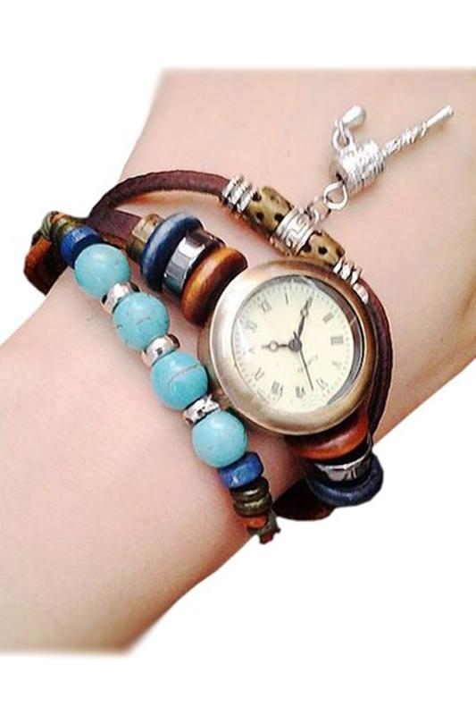Femmes vintage perles cloche decoration bracelet en cuir montre bracelet brun wt ebay for Montre decoration