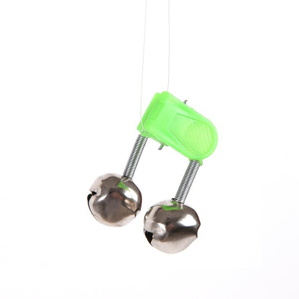 50pcs outdoor twin bells ring fishing rod clamp bite for Fishing rod bells