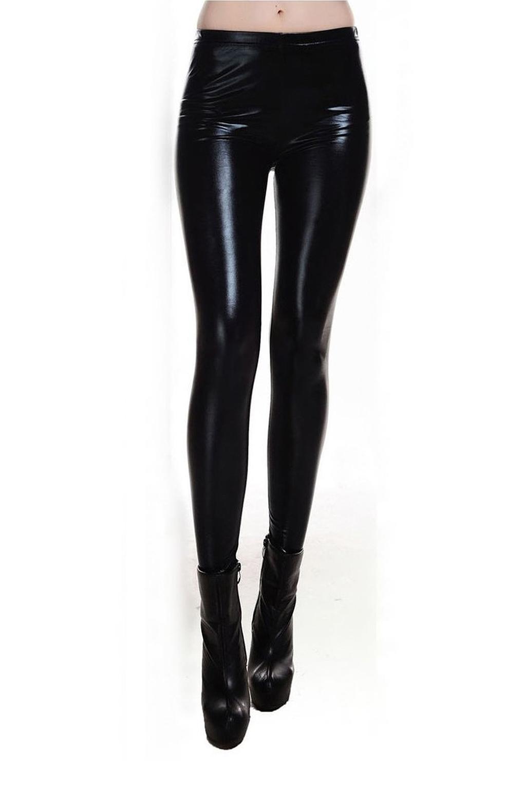 90a3de2db9e65 Metallic Wet Look Liquid Leggings Shiny Stretch Women Pencil Pants ...