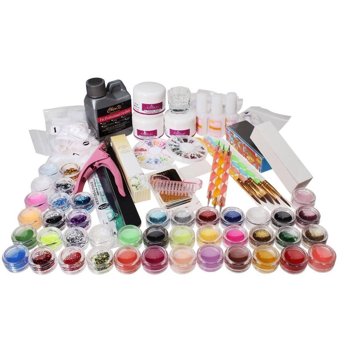 Nail art kits Nail Care Design Nail Acrylic Powder Brush Glitter Tip ...