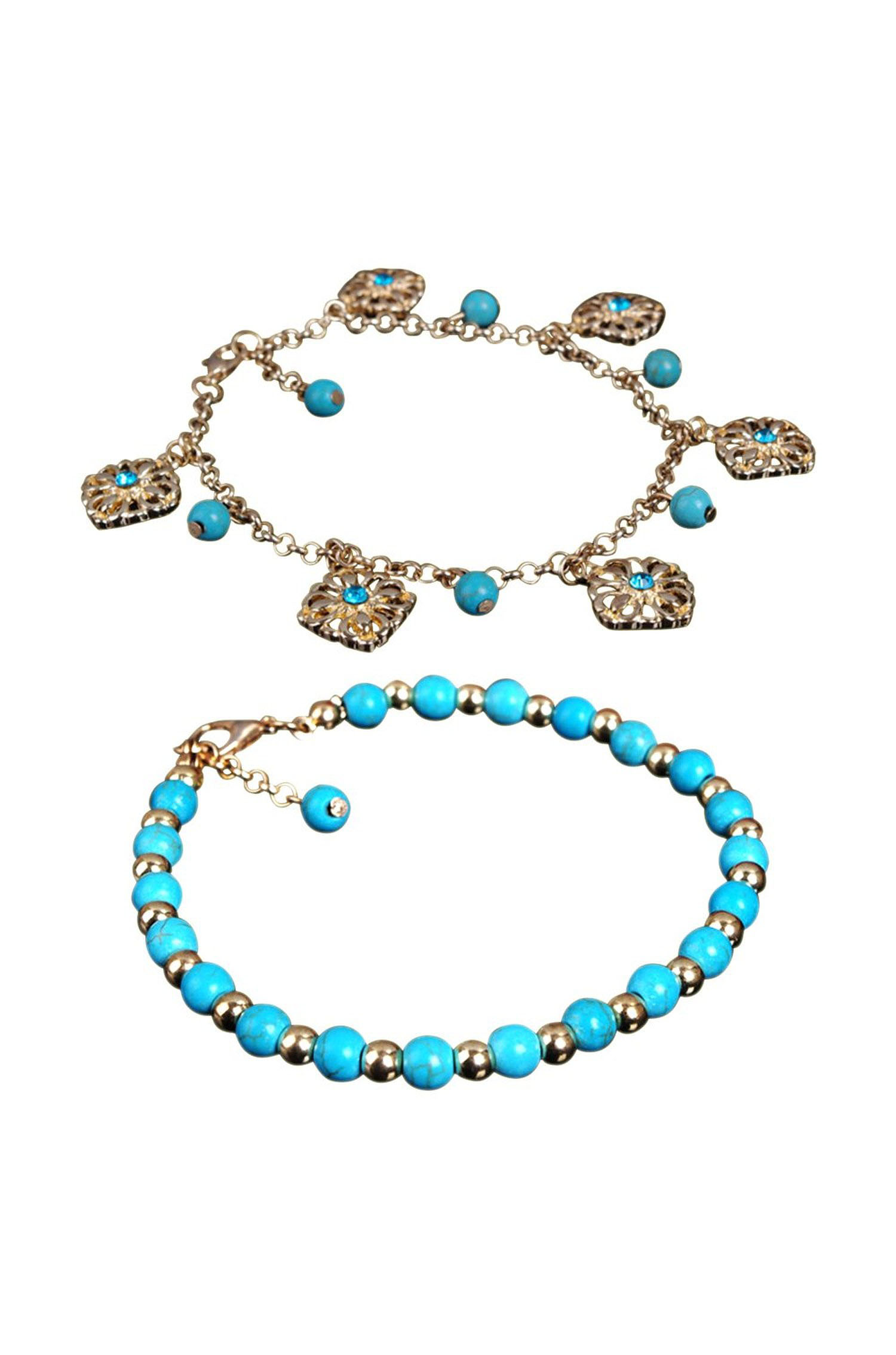 2x boho bracelet de cheville pied perles turquoise ethnique bracelet de fleur y3 ebay. Black Bedroom Furniture Sets. Home Design Ideas