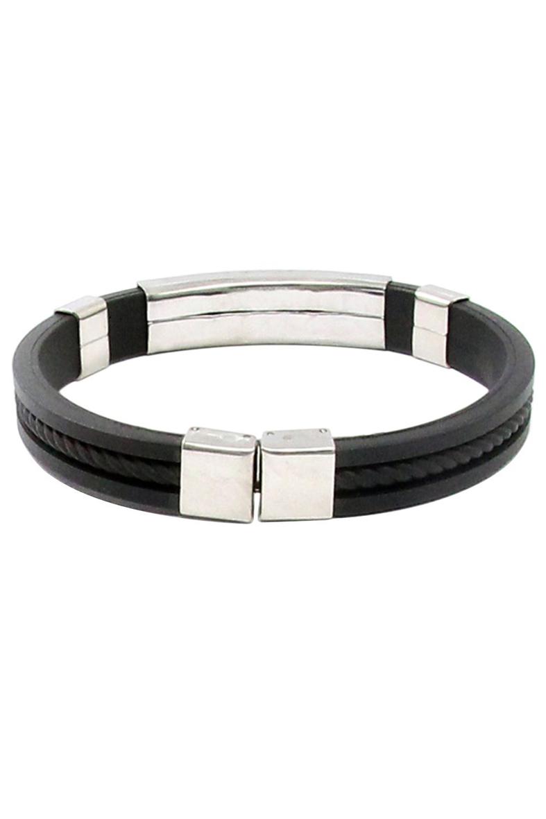 et edelstahl gummi armband armreif verschluss stulpe armband schwarz ebay. Black Bedroom Furniture Sets. Home Design Ideas