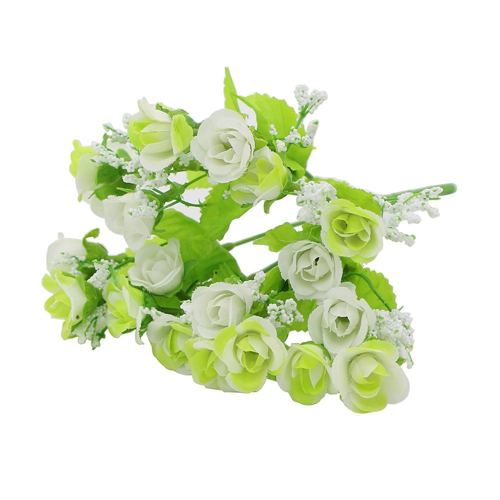5x blanco verde rosa artificial flores de seda de for Decoracion hogar verde