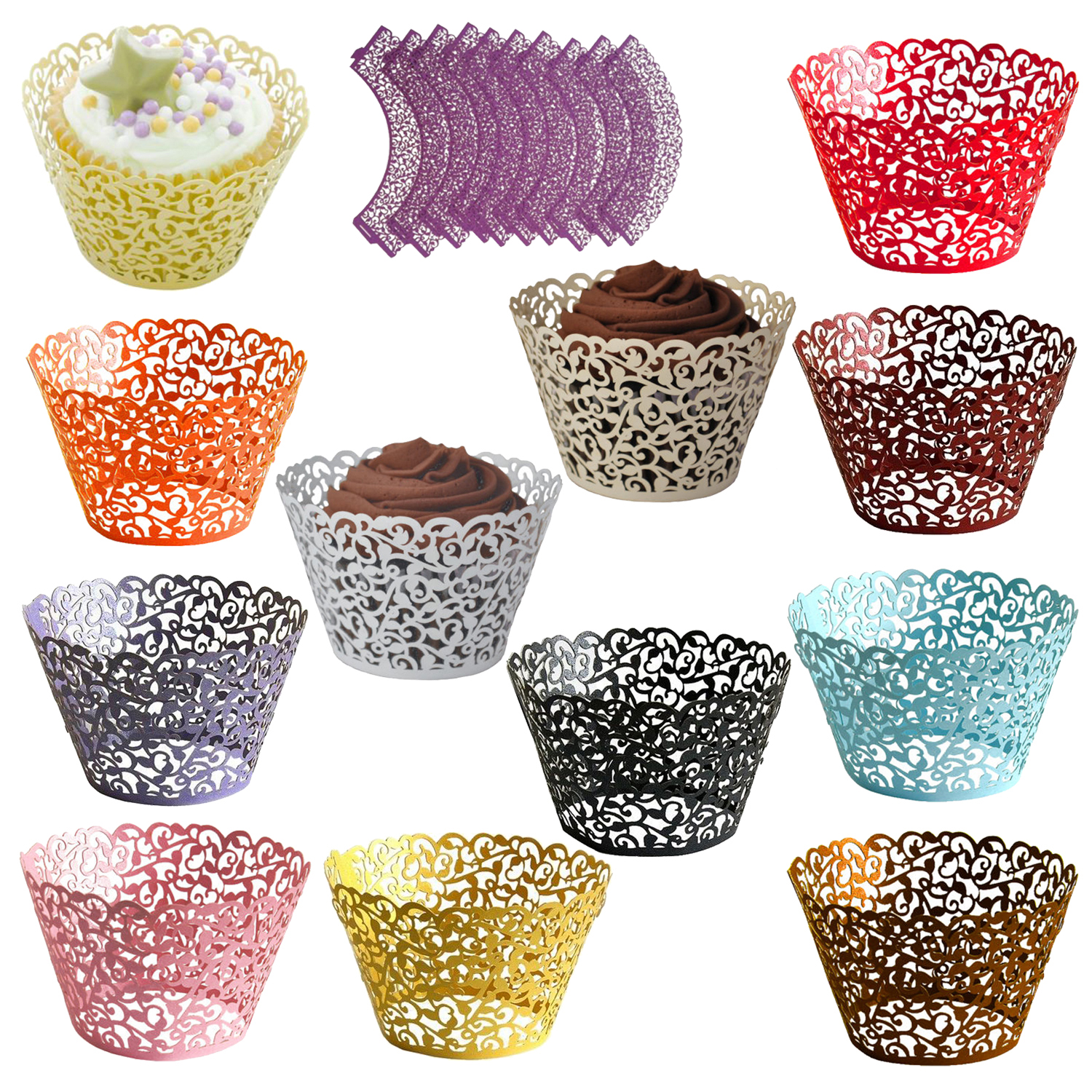 Details About 1xfiligree Vintage Cupcake Wrappers Wraps Cases Wedding Birthday V4g1