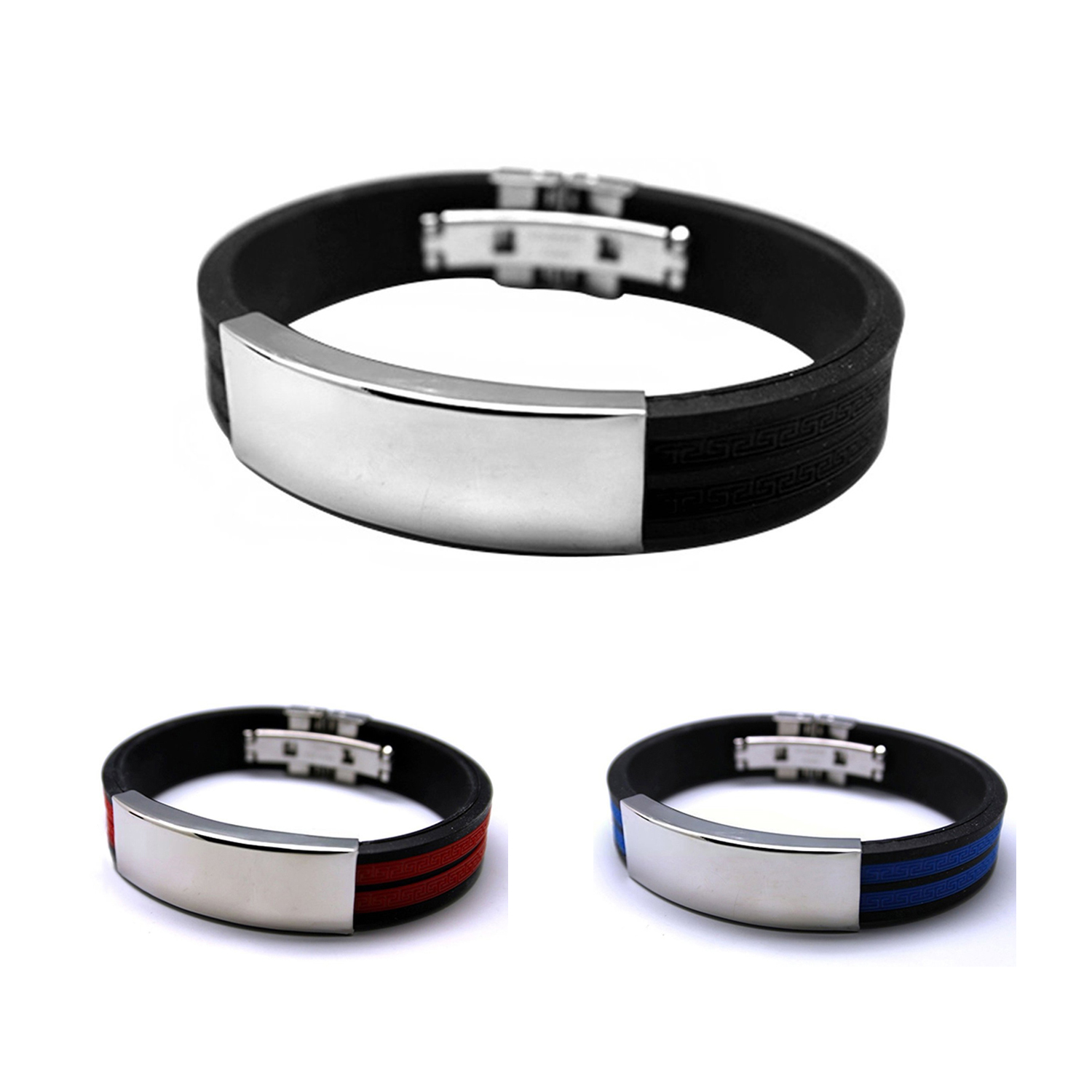 2XFashion Jewelry Mens Rubber Stainless Steel Bracelet V9L6