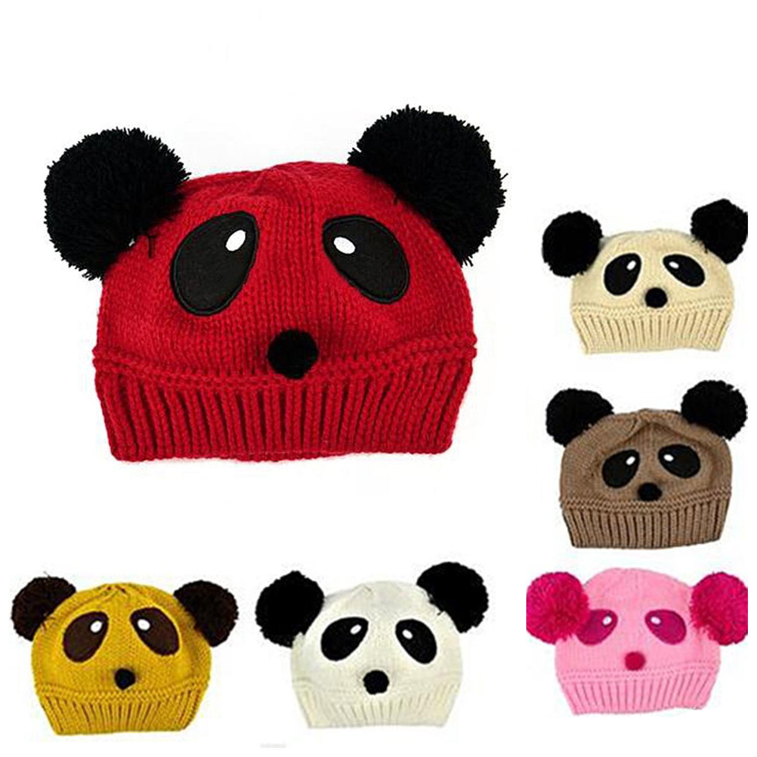 5x chapeau de panda mignon pour bebe unisexe en hiver chaud tricote p4v3 ebay. Black Bedroom Furniture Sets. Home Design Ideas
