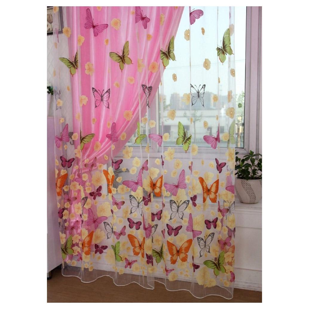 Farbige schmetterling gardine transparent vorhang zimmer for Schmetterling deko kinderzimmer