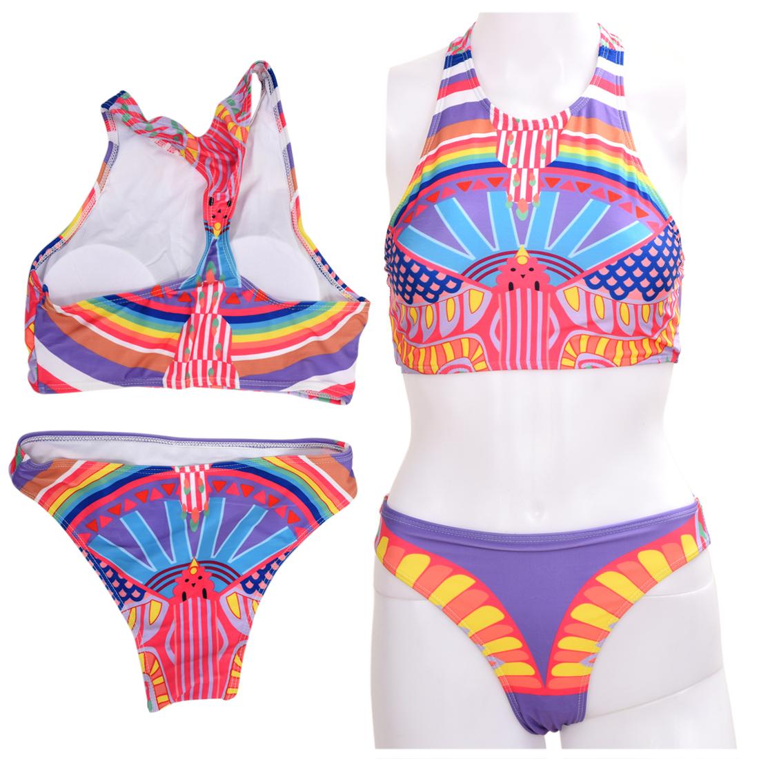 2X(Hoher Hals abgeschnitten Oberteile Badeanzug Maedchen Bikini Retro DruckA7M7)