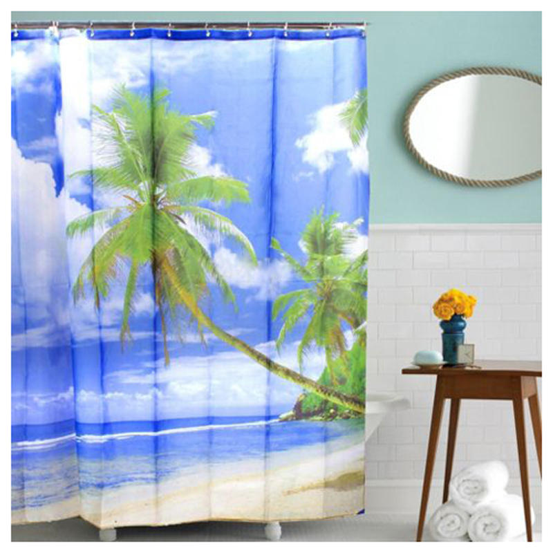 Tropical palm tree summer beach polyester shower curtain for Summer beach decor