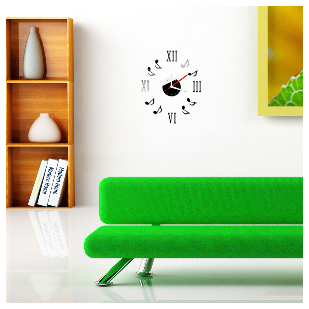 effet de miroir horloge murale stickers creatifs en verre acrylique sticker x2g2 ebay. Black Bedroom Furniture Sets. Home Design Ideas