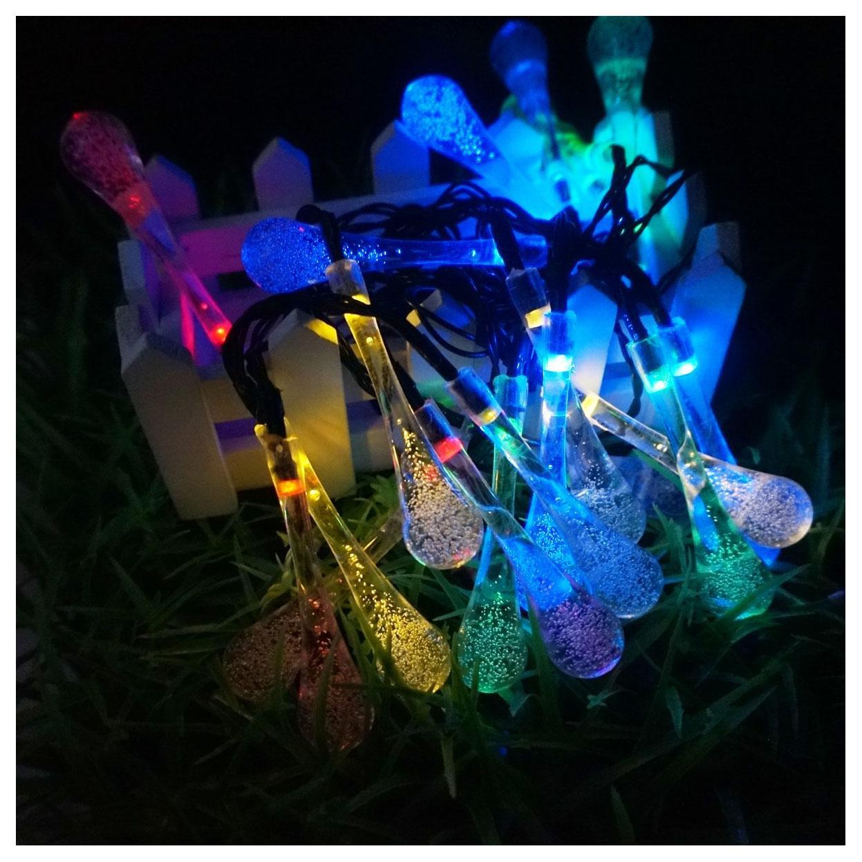 Solar Panel String Lights: Long Droplets Solar LED String Lights With Garden Solar