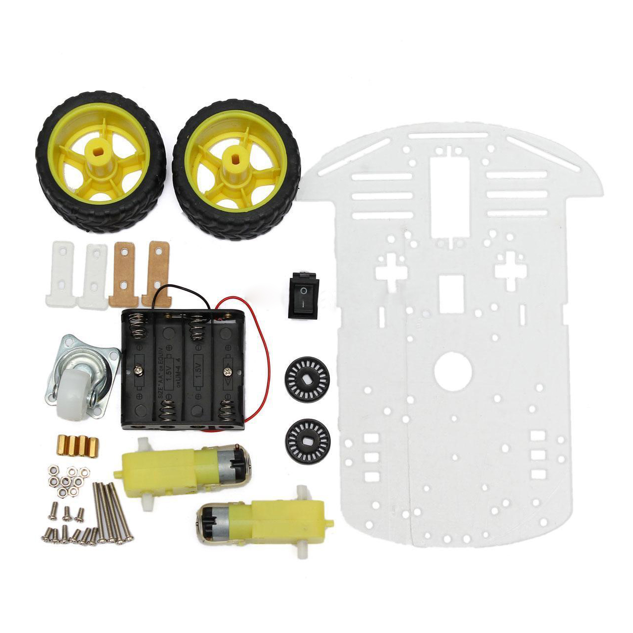 W wd smart motor robot car chassis battery box kit speed