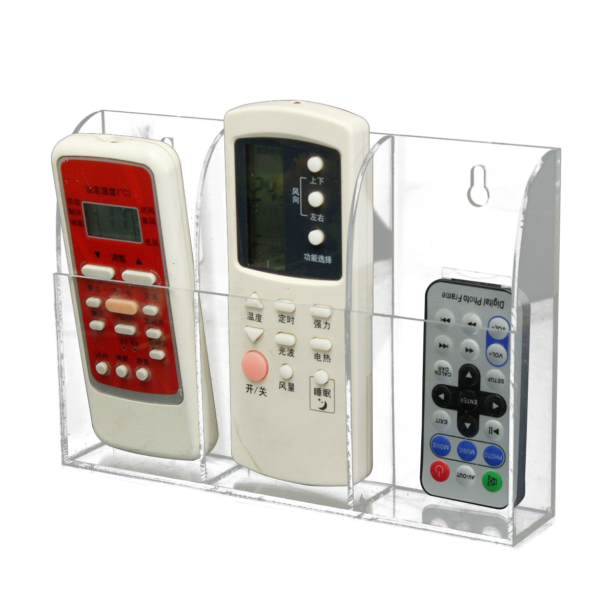 TV-Air-Conditioner-Remote-Control-Holder-Case-Acrylic-Wall-Mount-Storage-H9S thumbnail 9