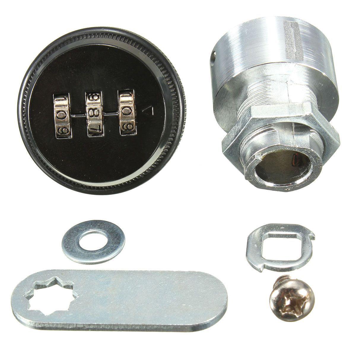 Cerradura de combinacion de codigo de aleacion sin llave de caja de correo del poste y de armario RV 3 Dial plata Cerradura de combinacion de codigo R TOOGOO