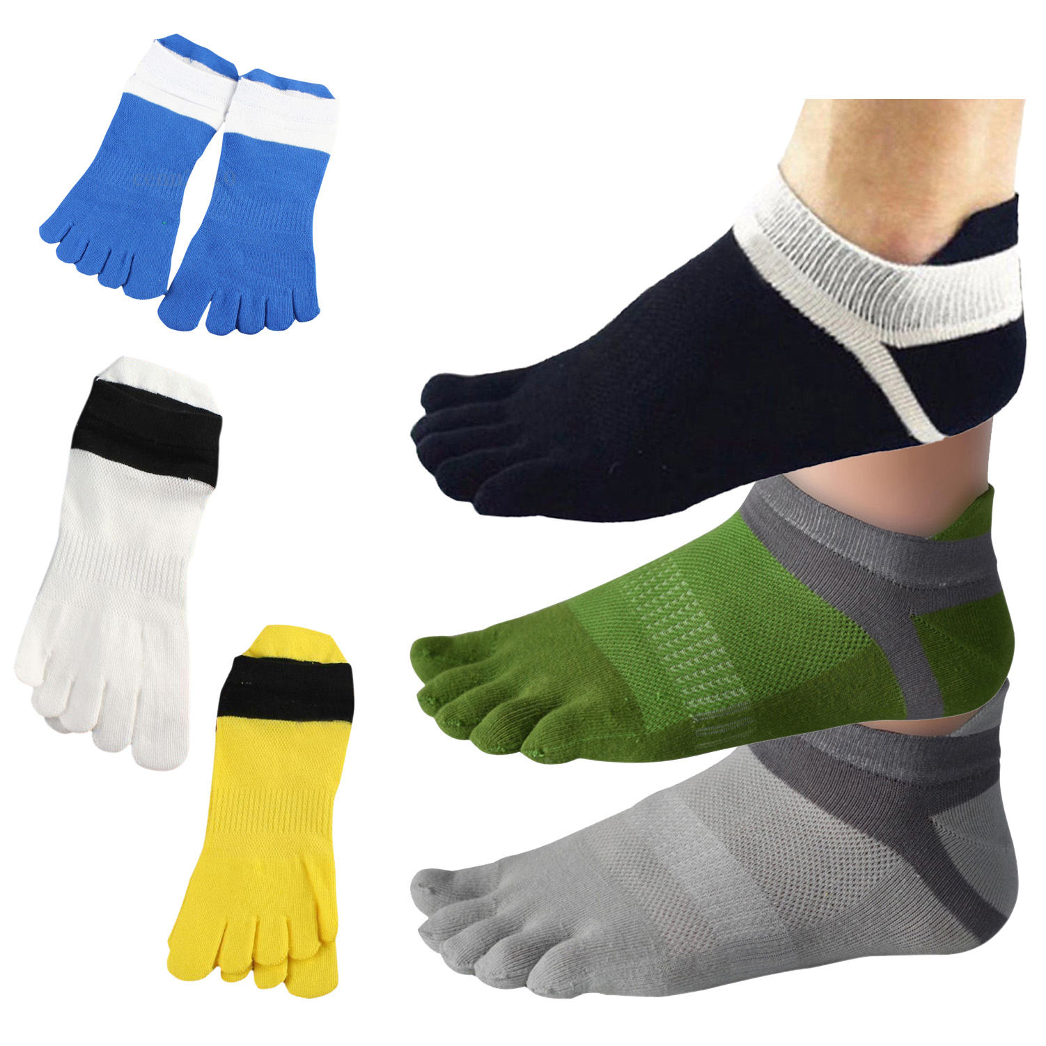 1 Paar Maenner Bequeme Atmungsaktive Baumwolle Socken Sport Fuenf-Finger So O4M9