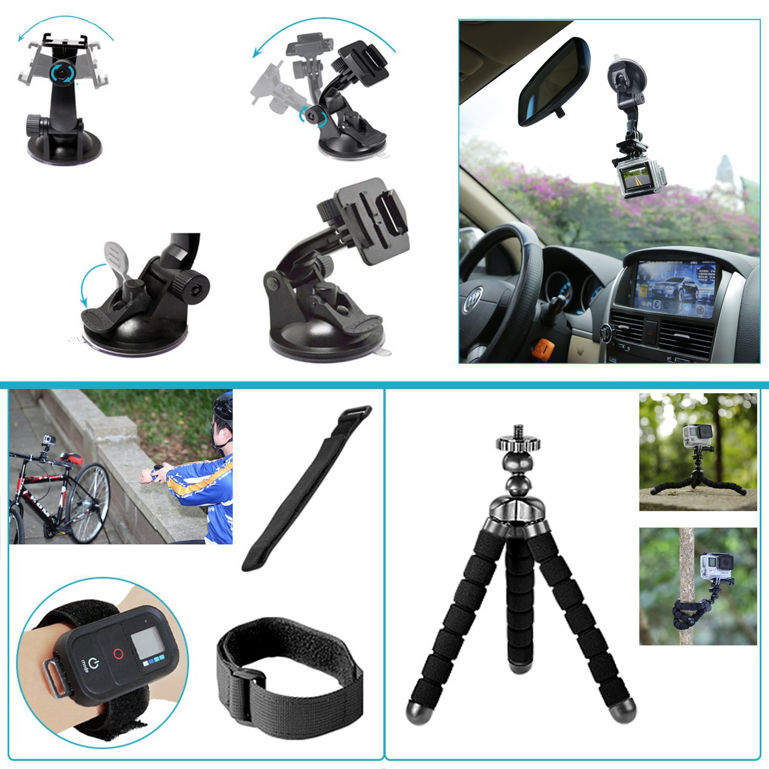 50 in 1 sport accessory kit for gopro hero4 session hero1 2 3 3 4 s ebay. Black Bedroom Furniture Sets. Home Design Ideas