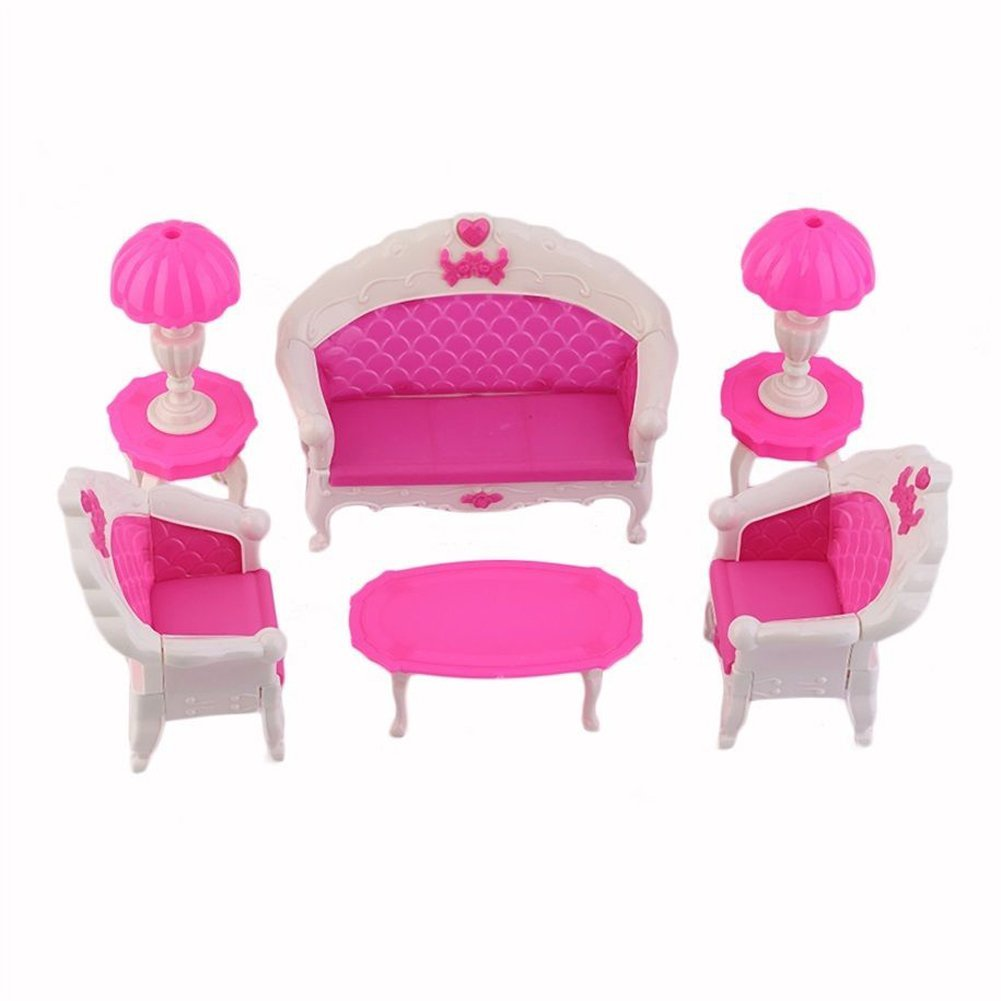 8pcs jouets poupees barbie canape chaise bureau lampe meuble demonte valeur x2k3 ebay. Black Bedroom Furniture Sets. Home Design Ideas