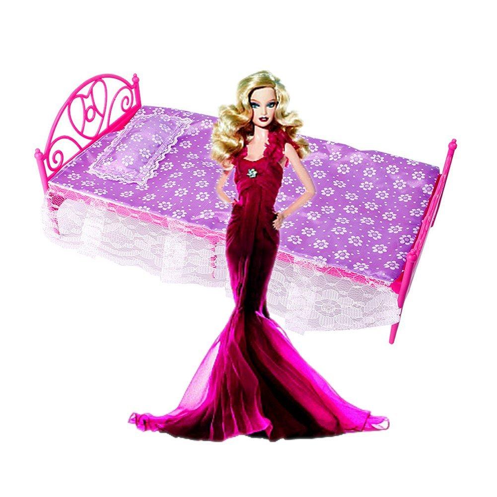 schoene kunststoff bett moebel fuer barbie puppen puppenhaus et. Black Bedroom Furniture Sets. Home Design Ideas