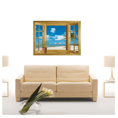 Large 3d window beach sea view wall stickers art decals for Large 3d wall art