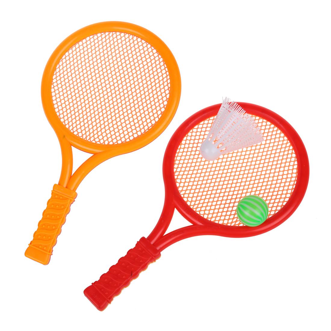 Kinder Spiel Orange Rote Plastik Tennis Badminton Schlaeger Spielzeug Set H D2F8