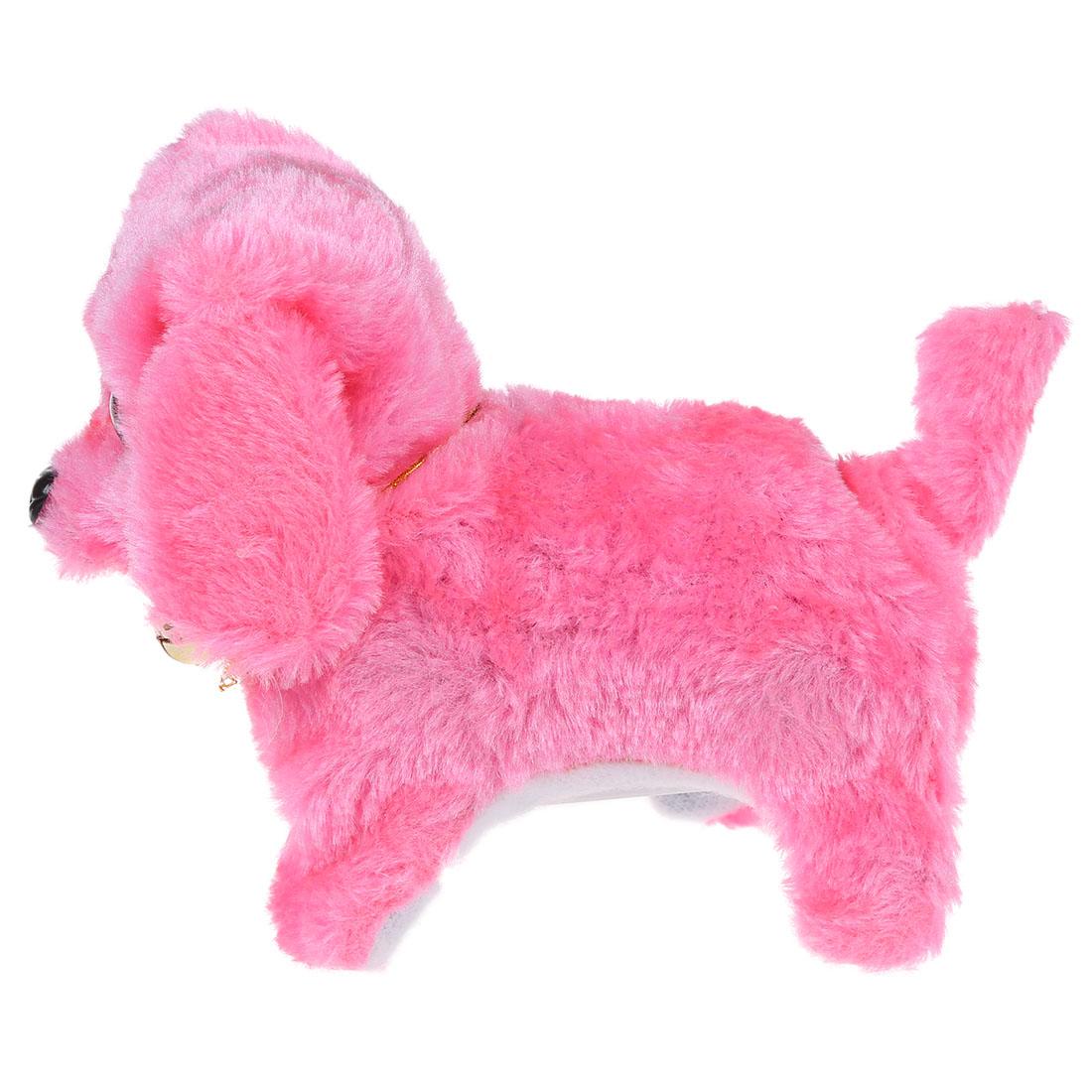Pink Dog Toy : Pink plush neck bell walking barking electronic dog toy