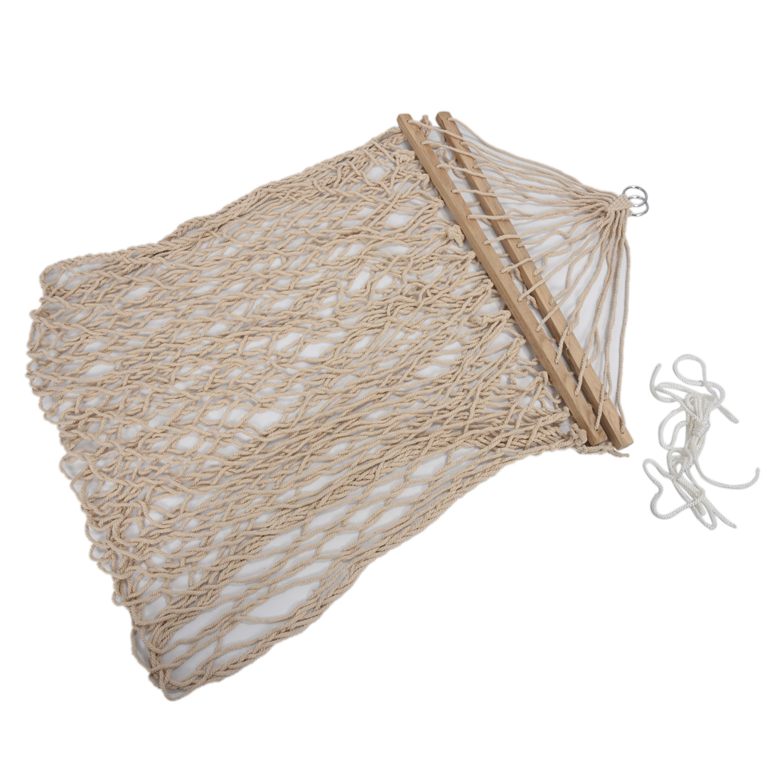 White cotton rope swing hammock hanging on the porch or on for Rope hammock plans