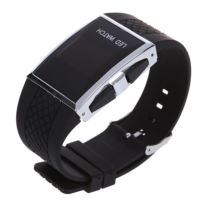 Montre-a-quartz-Noir-d-039-Affichage-en-LED-rouge-P6G8