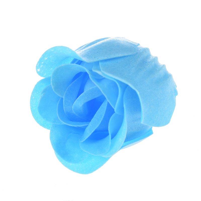 1x 3pcs Rose Shape Baby Blue Bath Soap Heart Package Box