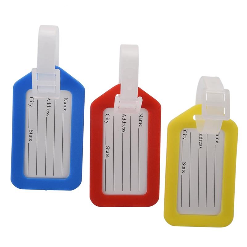 Etiqueta-del-Equipaje-Mochila-Plastico-Duro-Informacion-de-Direcciones-Rojo-Am