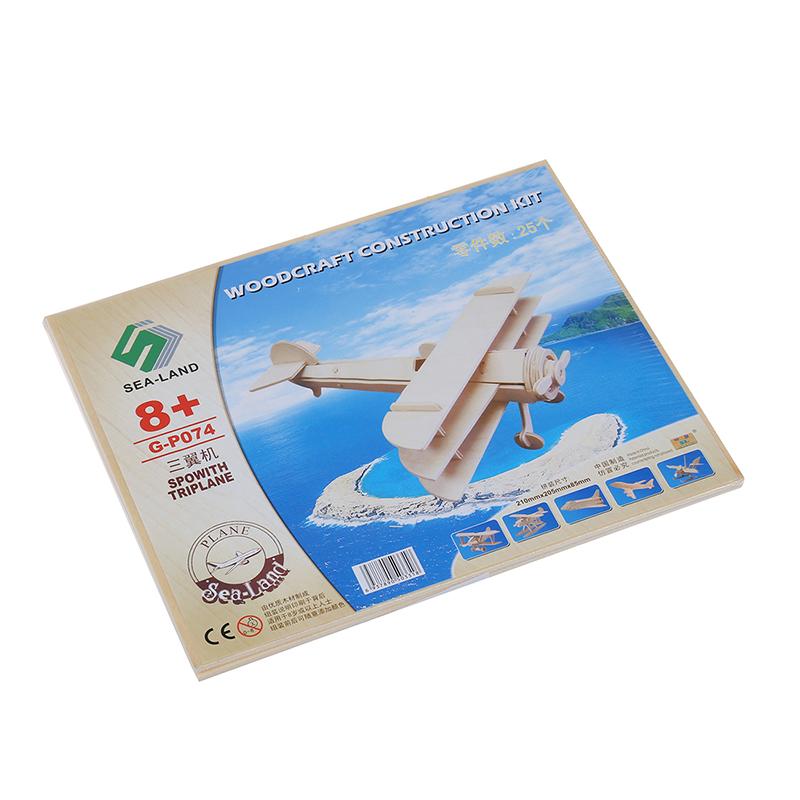 2X-1-x-3D-Puzzles-de-modele-de-Sopwith-triplane-en-bois-pour-les-enfants-G1V1 miniature 4