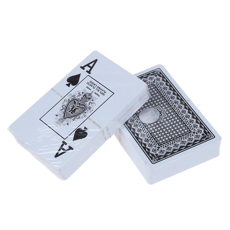 7x (2 cubierta 100% plástico poker tamaño naipes a1q9) w8