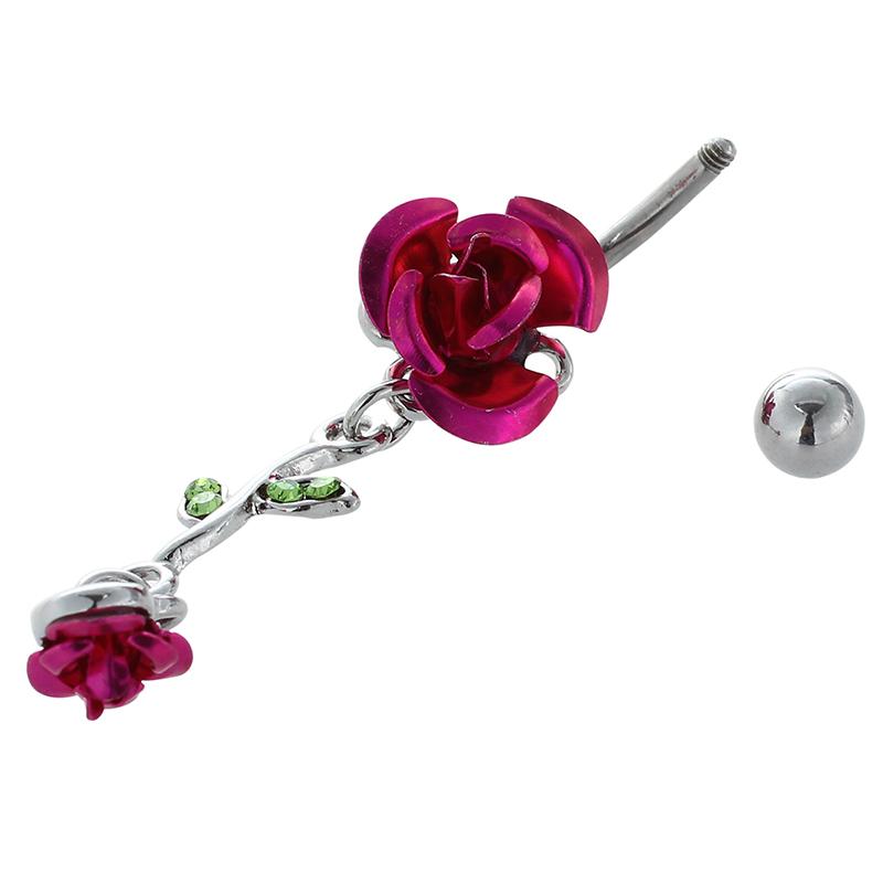 Joyeria-colgada-conectado-2-Rosas-Anillo-del-vientre-Boton-del-ombligo-Y3S4 miniatura 7