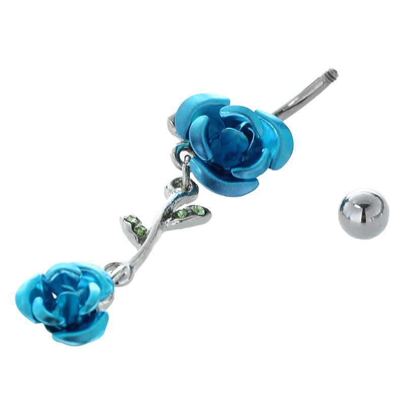 Joyeria-colgada-conectado-2-Rosas-Anillo-del-vientre-Boton-del-ombligo-Y3S4 miniatura 10