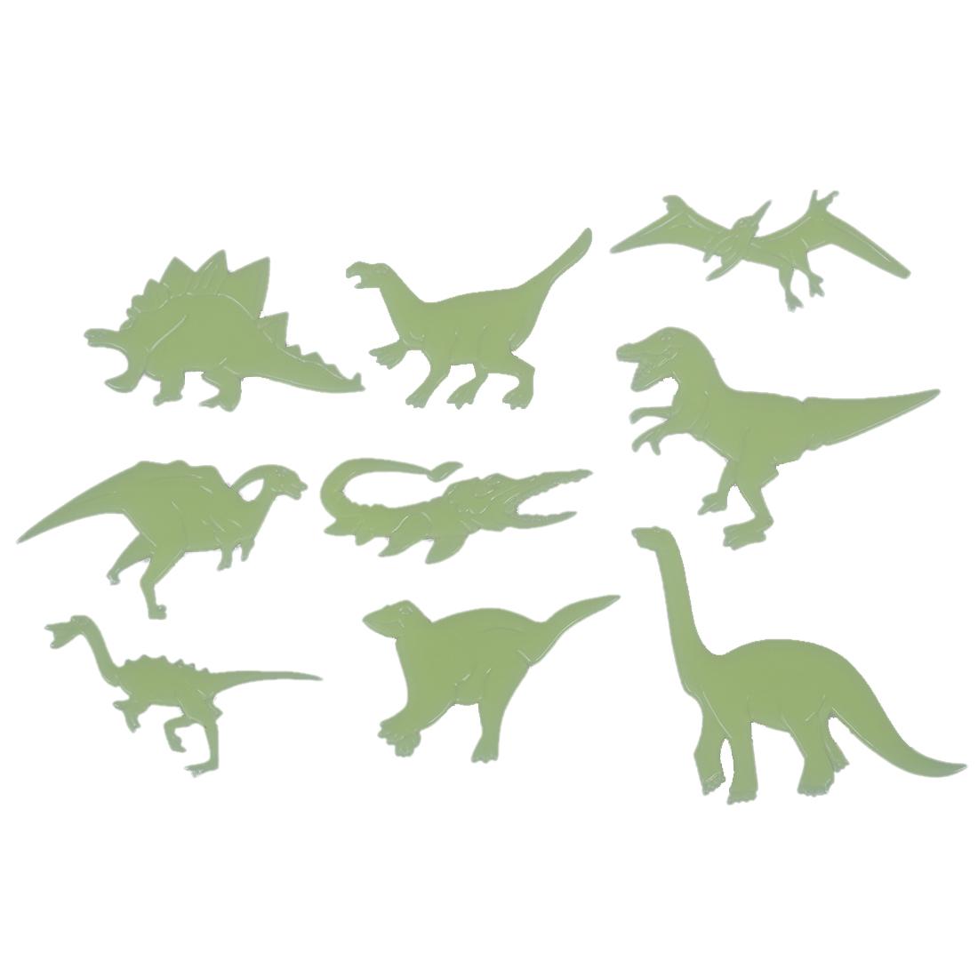 Fun Glow In The Dark Set Of 9 Dinosaurs Plastic Shape Ceilings Walls
