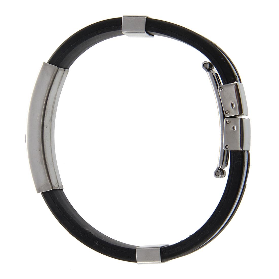 Stainless steel cross black white silicone bracelet