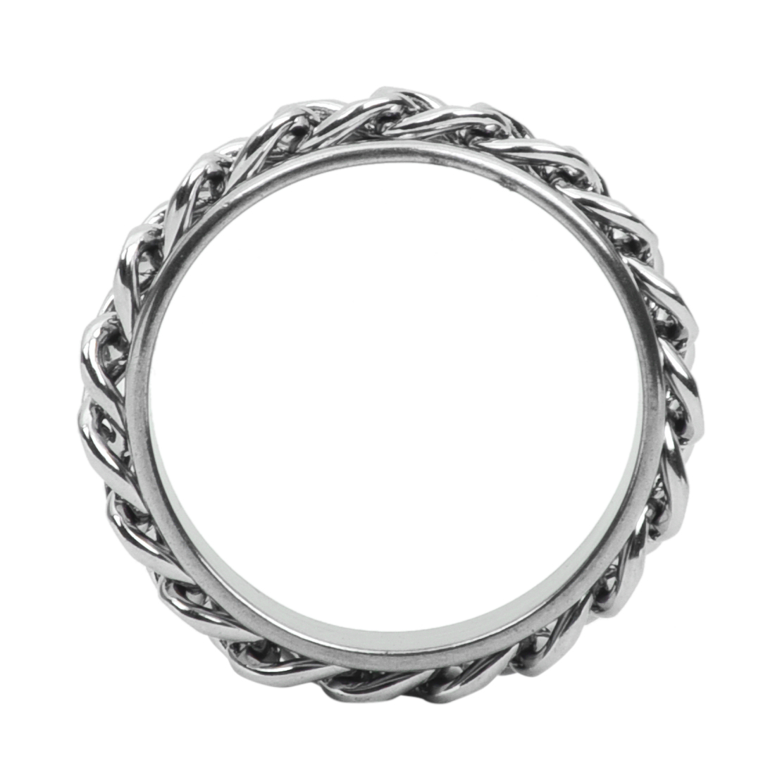 Men's Stainless Steel Curb Chain Band Ring UK Size: T 1/2 - Silver B4M7 G4H6