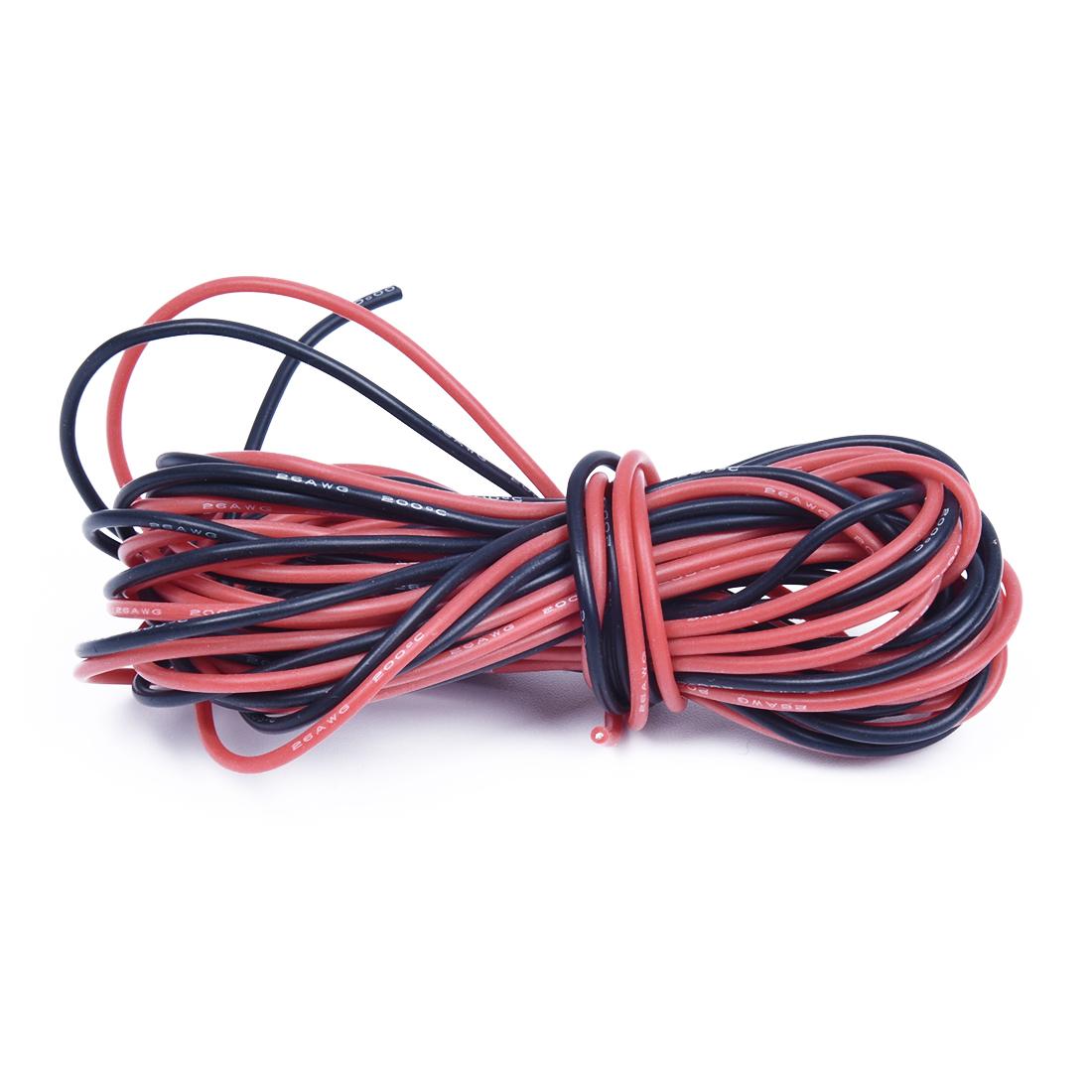 2 x 3M 26 Gauge AWG Silikon-Gummi-Draht-Kabel Rot Schwarz Flexibel ...