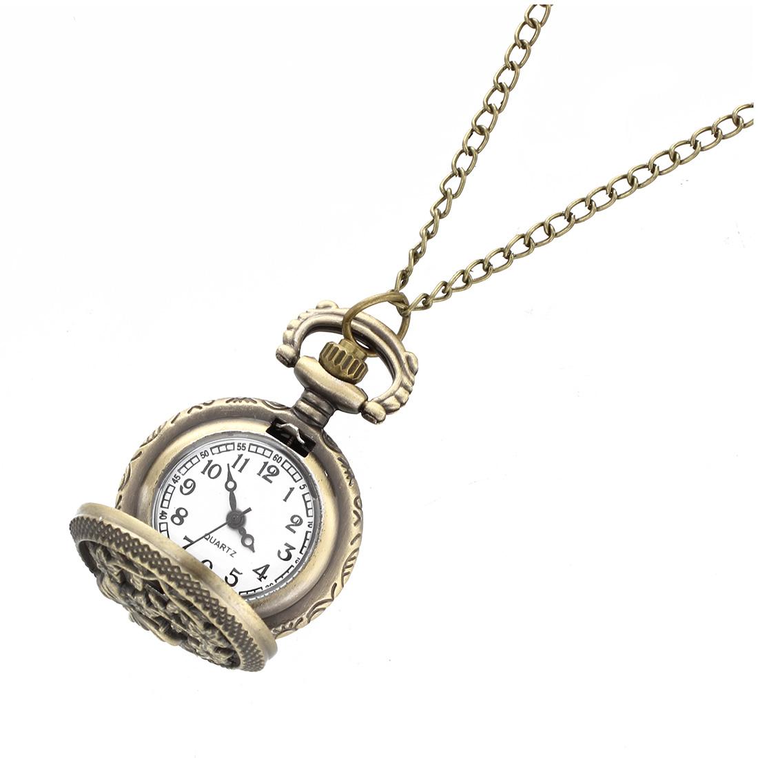 Quartz Pendant Pocket Watch Chain Vintage Bronze Arabic ...