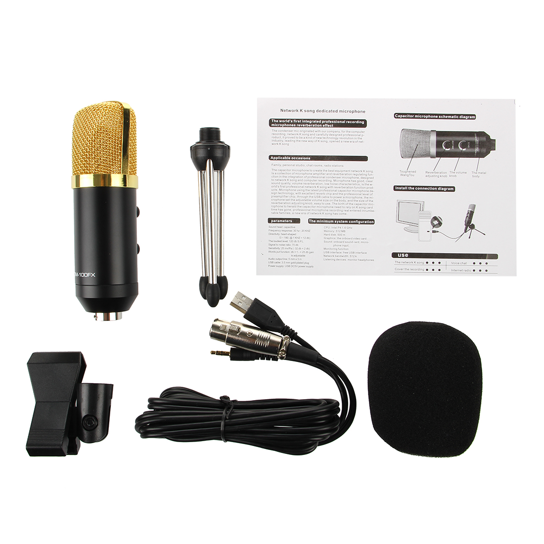 Usb Studio Condenser Recording Microphone With Sponge Sets Audio Circuit Diagram 1x 25m Cable Notelight Shooting And Different Displays May Cause The Color Of Item In Picture A Little From Real Thing