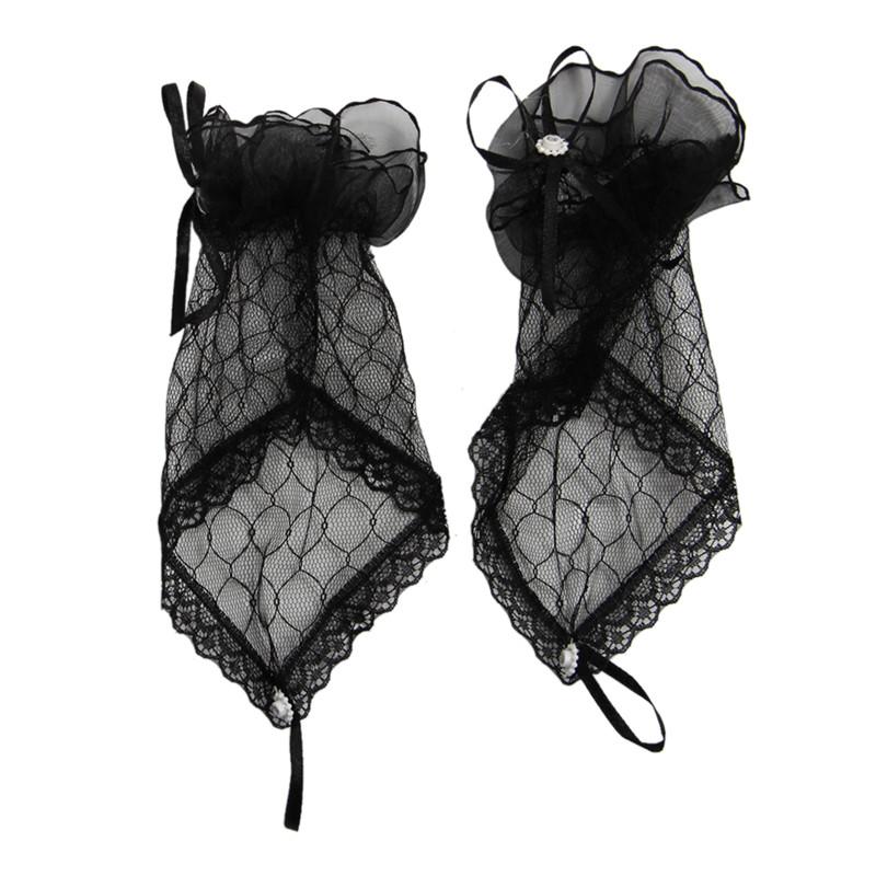 Guantes sin Dedos Encaje para Fiesta de Disfraces (negro) R6V1