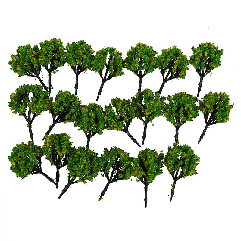 8x (20 pezzo di 2,8 pollici Paesaggio paesaggio treno modello alberi W FIORE GIALLO FC