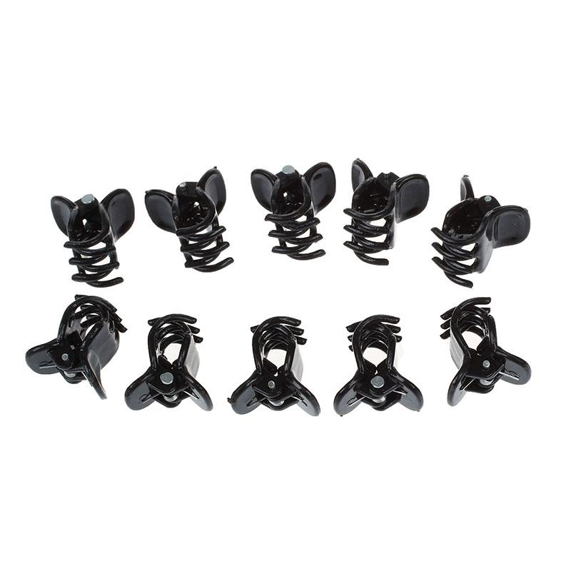 10-Abrazaderas-de-garras-clips-del-pelo-negro-de-plastico-pequeno-mezclado-Fe2Z5