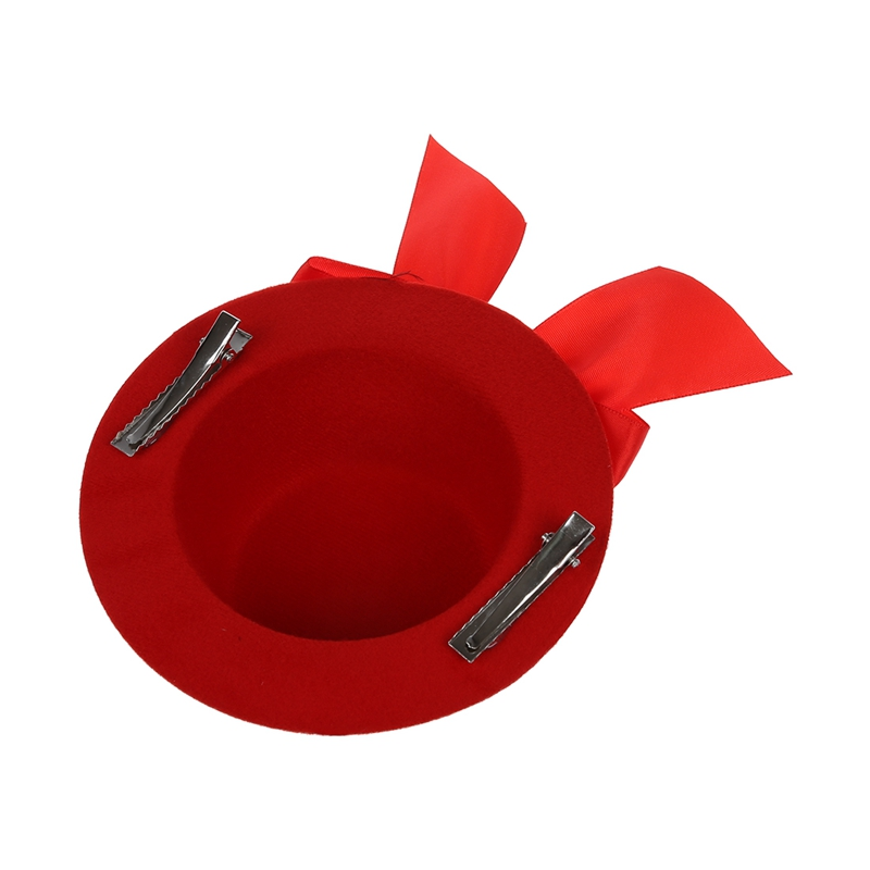 eec89d6e7 Details about Ladies Mini Top Hat Fascinator Burlesque Millinery w/ Bowknot  - Red Y3A7 YB