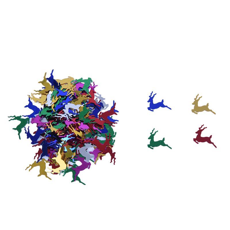 120-Pz-Circa-Natale-Cervi-Paillettes-Confetti-Scrapbooking-B9L2
