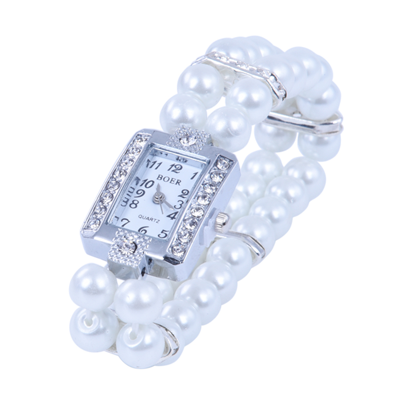 f750637775bb La imagen se está cargando Reloj-de-Pulsera -metal-perlas-cristal-brazalete-estirado-