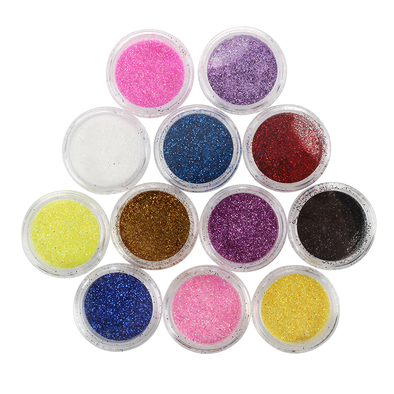 12pcs Color Glitter Dust Powder Tip Decoration Nail Art K5X3 | eBay