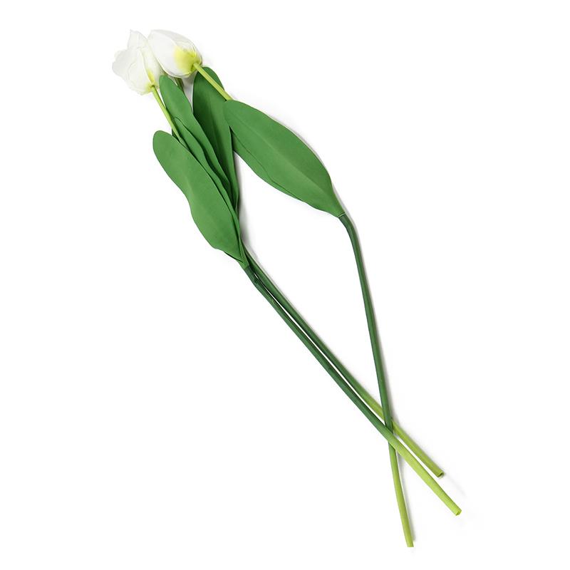 3-x-Artificial-flor-tulipan-tela-Deco-plastico-blanco-Oficina-M8I1