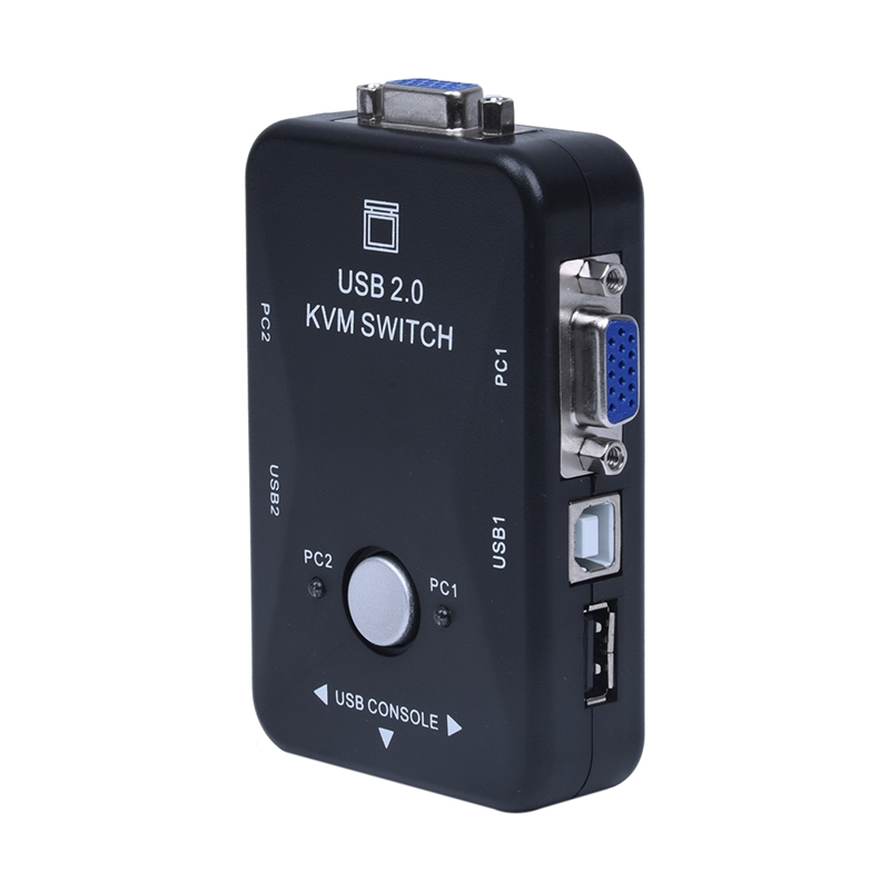 All-in-one-Mini-2-Ports-KVM-Manual-Switch-Box-Adapter-w-USB-Connector-Y9F1 thumbnail 2