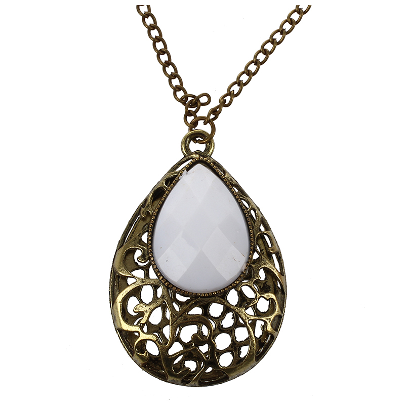 Hollow Water Drop Pendant Big Gem Stone Long Necklace,White W3D3