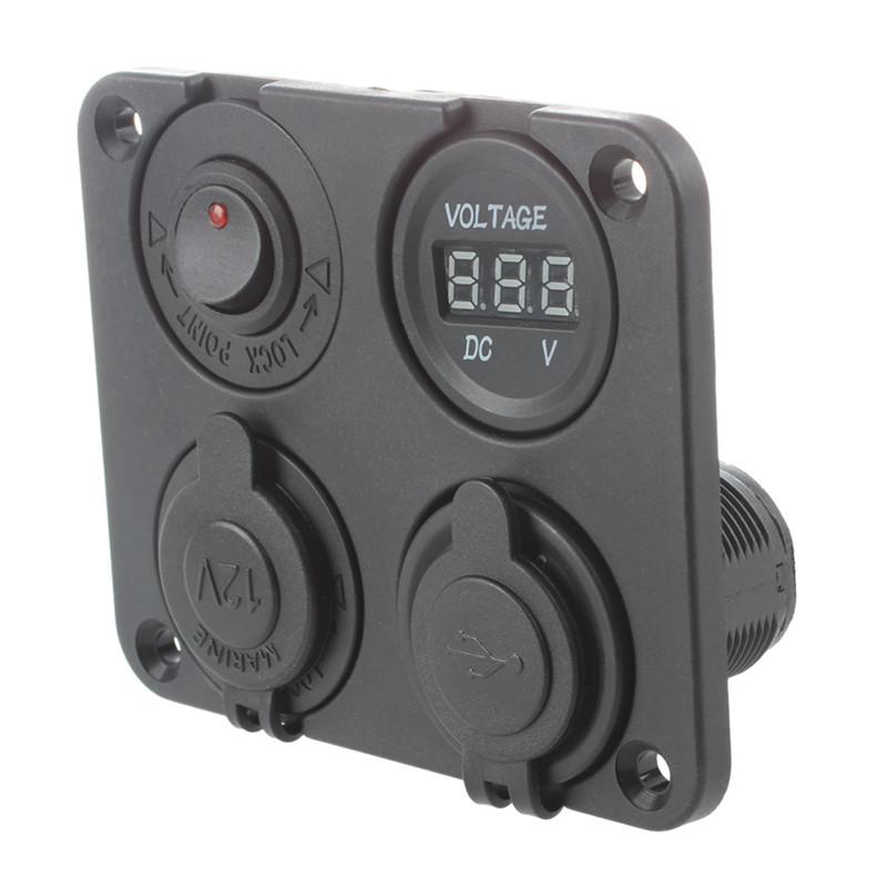 10X(4 EN 1 LED Allume Cigare 12-24V 3.1A 2 USB Prise Adaptateur Voltmeter PR Y7)